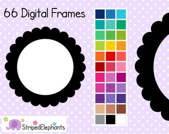 Scalloped Circle Frames - Clipart Frames - Instant Download - Commercial Use