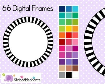 Striped Circle Digital Frames 1 - Clip Art Frames - Instant Download - Commercial Use
