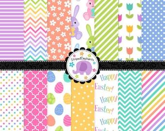 Easter Digital Paper Pack - Digital Scrapbook Paper - Instant Download - Commercial Use