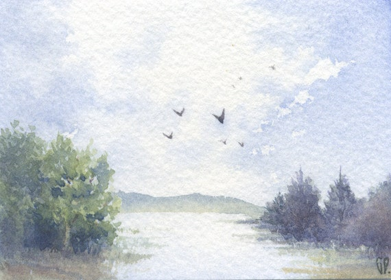 Original watercolor painting ACEO - Flood