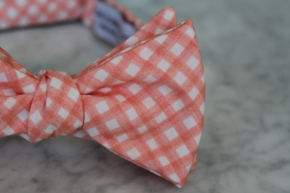 Bow Tie in Pink Coral Gingham for men or boys - Self tying - freestyle - Groomsmen gift and ring bearer outfit