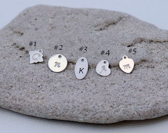 Add an Initial Charm, Sterling Silver Charm, Stamped Initial Disc, Mothers Jewelry, Silver Stamped Tag, Personalized Jewelry