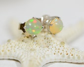 Ethiopian Welo Opal Studs Earrings Prong Set Sterling silver Tiny Post Earrings Birthstone Jewelry