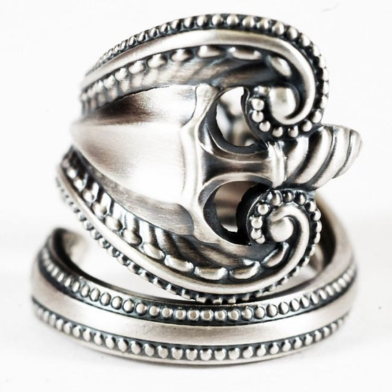 sterling silver spoon ring ornatetowle by
