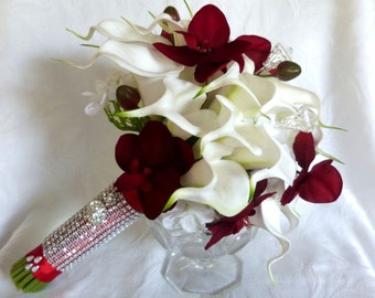 Red orchid white calla lily wedding bouquet set