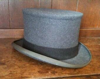 Vintage English Grey Lock & Co. London Top Hat circa 1980's / English Shop