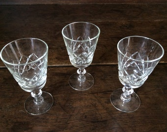 Vintage French glass drinking dinner glasses set of 3 circa 1970's / English Shop
