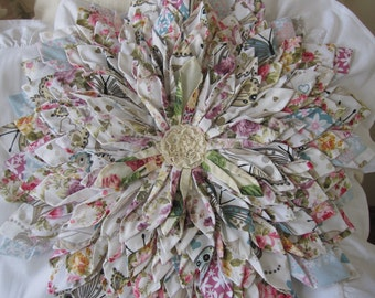 Lotus flower pillow, White Linen ruffle pillow SHAM , multicolor fabric scraps Queen king shabby chic bedding decorative pillow Nurdanceyiz