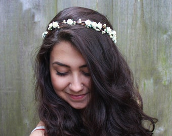 Bridal Flower Crown. Boho Wedding, Ivory, Bridal Headpiece, Floral Crown, Ivory Flower Crown, Hair Wreath, Weddings, Ivory Rose Crown Rose