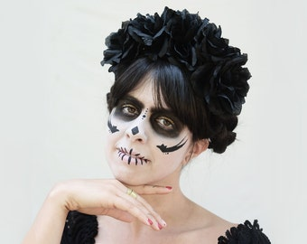 Day of the Dead Headpiece - Black Rose Crown - Black Flower Crown, Dia de los Muertos Costume, Sugar Skull, Black Rose Headband, Boho, Goth