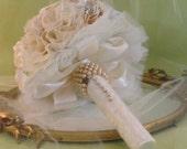 Vintage Wedding Bouquet Rhinestones Lace Pearls