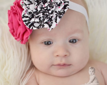 Hot Pink and Black Damask Fabric Flower Rosette Headband or Hair Clip for Baby, Toddler, Girls and Adults