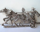 Marcasite Brooch Gladiator and Horses 1950's