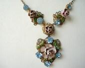 Art Deco Pendant Necklace Czech Rhinestones and Enamel Roses Flowers   20's 30's