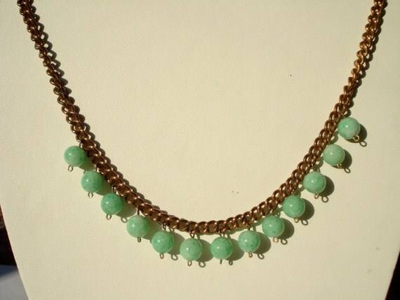 RESERVED for CHRISTINAR19................Art Deco  Necklace Copper and Green Glass Beads 1920's 1930's