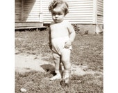 Baby Greeting Card - Toddler Sulks Over Lost Bugs - Repro Vintage Photo