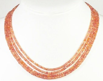 """4"""" 2mm to 3mm SAPPHIRE orange pink faceted beads from Songea Tanzania SA001"""