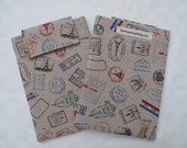 Kindle Case, Kindle Sleeve, Cover for Kindle or Kindle Paperwhite - travel stamps on linen