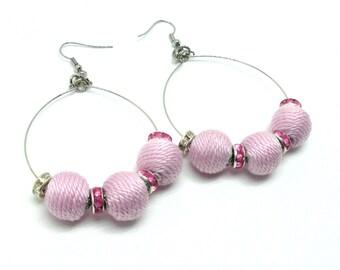 Hoop earrings with balls - light pink