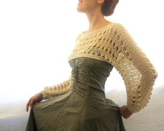 Cotton Summer Cropped  Sweater Shrug in light beige color, hand knitted, ecofriendly
