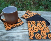 Pumpkin Coasters, Mug Rugs, Candle Mats, Set of 4, Reversible, Cloth Coasters, Primitive, Home Decor, Halloween, Fall, HHCOFG