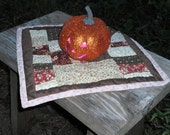 Patchwork Fall Quilt, Pieced, HAND QUILTED, Primitive, Table Mat, Candle Mat, Folk Art,  Home Decor, Autumn Decor, One of a Kind, OFG