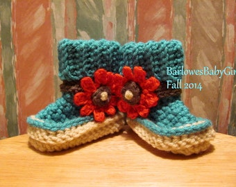 Buggs - Crochet Baby Booties in Teal w/ Tomato Red Detachable Flower