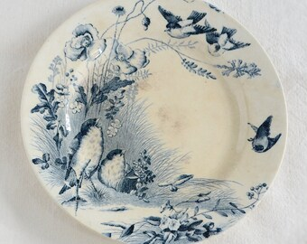 Antique French BIRDS & POPPIES Plate shabby Vieillard Bordeaux Ironstone