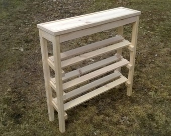 Natural Shoe Rack and Table with Trim