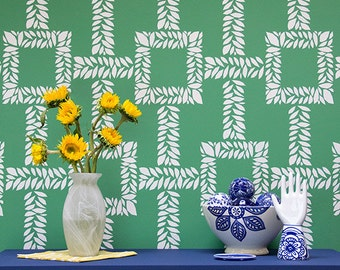 Trellis Boxwood Leaf Wall Stencil Pattern for a Wallpaper Look - Modern Nature Leaf Stencils for Painting