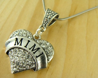 MIMI rhinestone heart  with .925 SS Chain Necklace