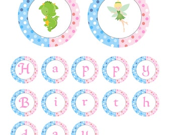 Fairy Birthday Banner - Blue Pink Polka Dots Dragon Pixie Siblings Twins Printable Party Decoration