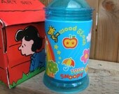 Metal and Plastic Snoopy Coin Bank. Turquoise Blue with 1950s Theme. Made in Korea. Peanuts and Charles M. Schulz.