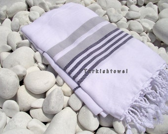 Turkishtowel-Hand woven,all cotton,3 color for weft Turkish Bath,Beach Towel- Grey and Black stripes on white