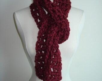 Handmade Crochet Scarf in Fabulous Burgundy/Wine Red