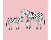 Children's Wall Art Print - Kids Decor - Whimsical and Sweet Wall Art Illustration - kids nursery - Cute Animal Series - The Zebras