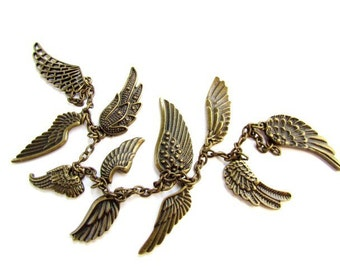 Antiqued Brass Wing Pendants , Charms / Wing Chain