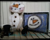 Primitive Snowman Pattern/ Rag Doll Patterns / How to make Greeting Card / Digital Download / Primitive Doll Pattern/Snowman Sewing Pattern