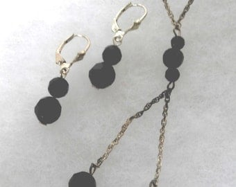 Onyx Sterling Necklace With Matching Earrings