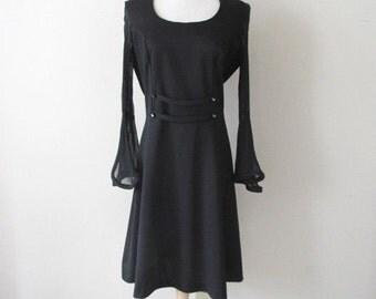 Black Sheer Bell Sleeve Mod Mini Dress