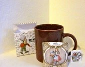 Alice in wonderland  printable Tea box with three tea bag covers and tags to match craft kit