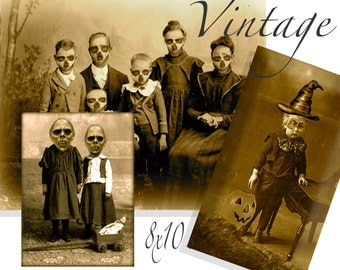 Printable Gothic Horror macabre prints altered photos Zombie Apocalypse  family , trick or treat little monsters 8x10
