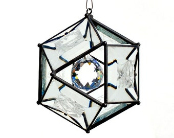 4 Inch Glue Chip Beveled Glass Orb with Crystal Ball Accent