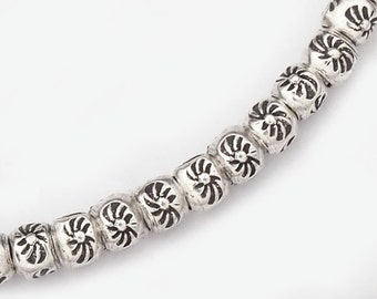 "70 of Karen Hill Tribe Silver Sun Printed Beads 3 x 2.4 mm. 7"" :ka3798"