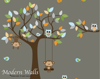 Children wall decals-Monkey Swing and Birds Tree and Branch Set