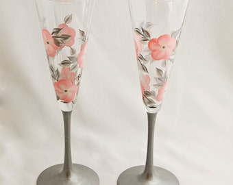 Hand Painted Champagne Glasses, Pink and Silver Floral