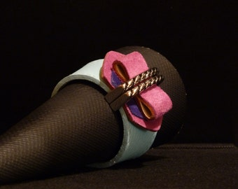 INTERNATIONAL Bracelet Blue Leather Purple and Fuchsia Suede Architectural Series