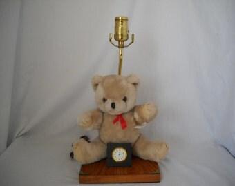 Vintage Teddy Bear Lamp And Clock/Nursery Light/Table Lamp/Nursery Teddy Bear Nite Light