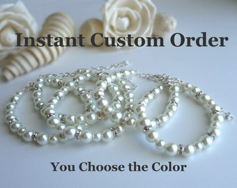 Set of Bridesmaid Bracelets - Instant Custom Order - You Choose the Color & Number of Bracelets - Pearl Bridesmaid Wedding Jewelry Bracelets