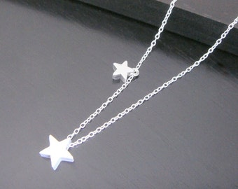 Double- Sided Sterling Silver Tiny Double Star Necklace Earrings Bridal Bridesmaids Birthday Christmas Trendy Jewelry Personalized Jewelry